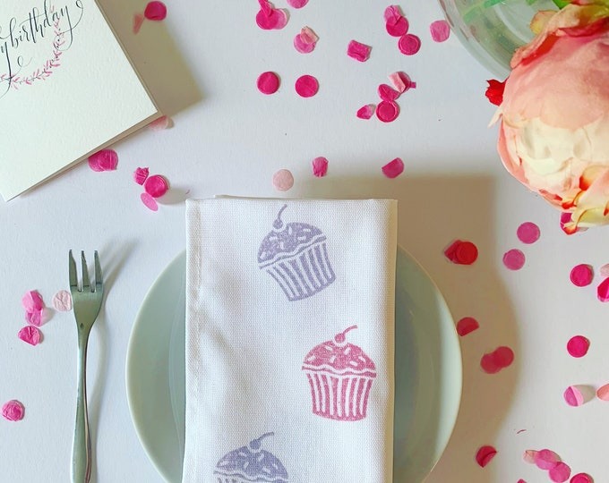 Handprinted Birthday Cake Napkins