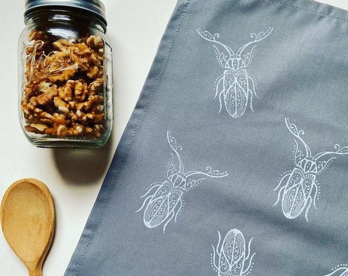Handprinted Beetle Tea Towel
