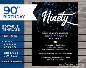 90th Birthday Invite 90 Years Old Ninety Year Blue Edit At Home Print Your Own Customisable Invitation