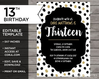 15th birthday invitation 15th birthday invitation template etsy