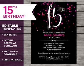 Pink 15th Birthday Invitation 15 Years Old Editable Invite Edit At Corjl