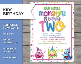 2nd Birthday Invite DIY Invitation 2 Years Old Boy Or Girl Monster Party Template Editable Print Your Own 5x7 Inch