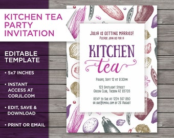 kitchen tea invite etsy