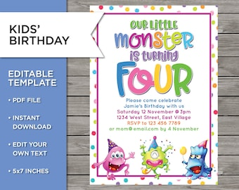 4th Birthday Invite DIY Invitation 4 Years Old Boy Or Girl Monster Party Template Editable Print Your Own 5x7 Inch
