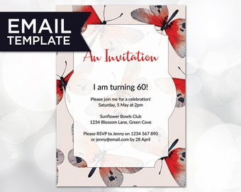 An Invitation Template Email Butterfly Party Invite Invitations Birthday