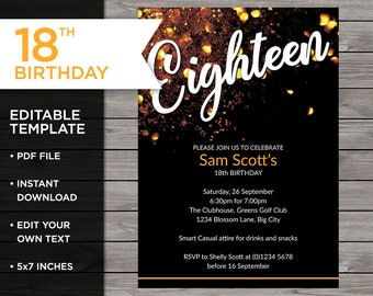 40th birthday invitation 40th invitation template 40th | etsy.