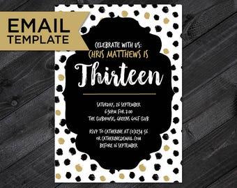 Email invitations etsy 13th birthday invitation email invite teenager birthday 13th birthday invitation template 13th email invitation editable birthday filmwisefo