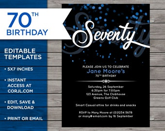 70th Birthday Invite Customisable Invitation 70 Years Old Blue Bokeh Edit At Home Print Your Own