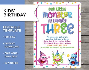 3rd Birthday Invite DIY Invitation 3 Years Old Boy Or Girl Monster Party Template Editable Print Your Own 5x7 Inch