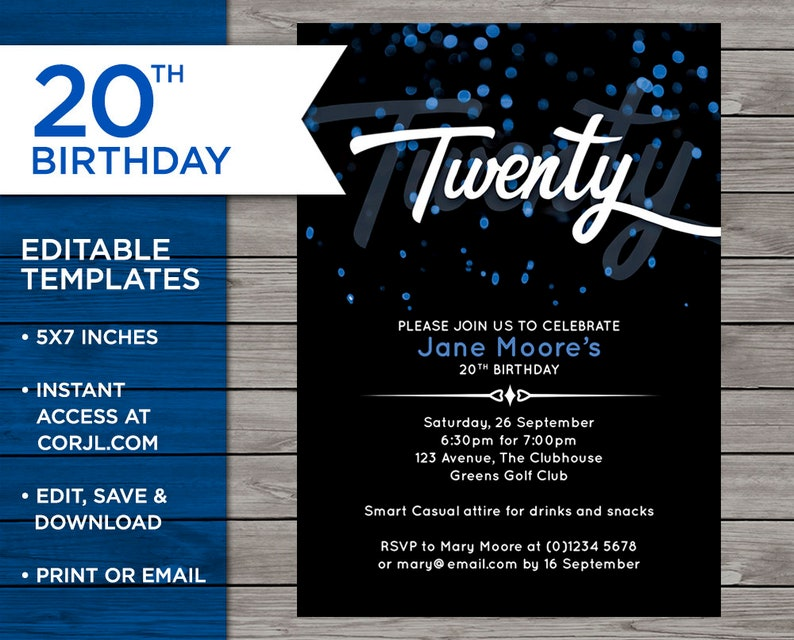 20th Birthday Invite Customisable Invitation 20 Years Old Blue Bokeh Edit At Home Print Your Own 5x7 Inch