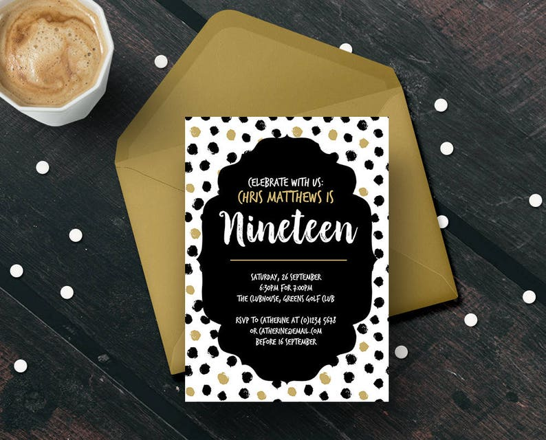 19th Birthday Invitation Template Teenager Nineteen Years Old Party Editable Print Your Own