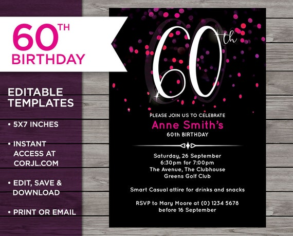 Pink Invitation 60th Birthday Invite 60 Years Old