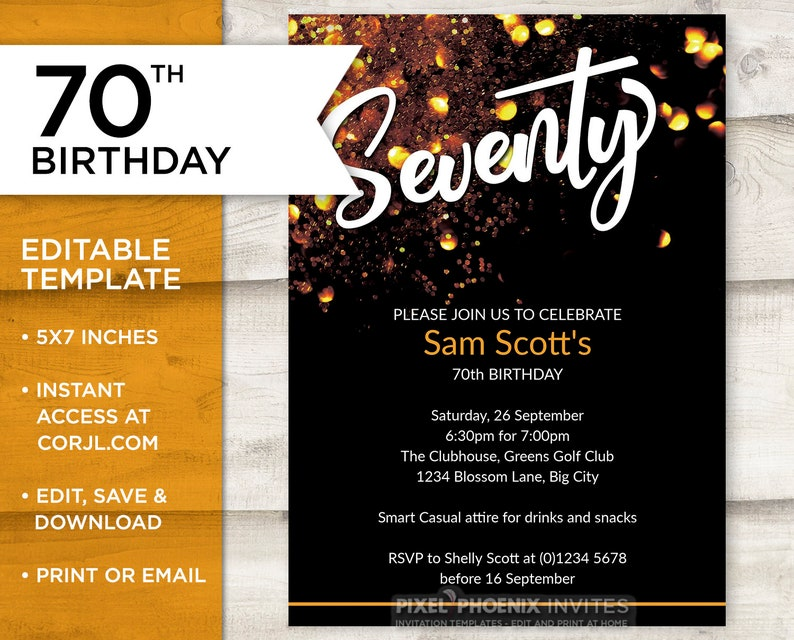 Gold 70th Invite Birthday Customisable Invitation 70 Years Old Edit At Home Printable