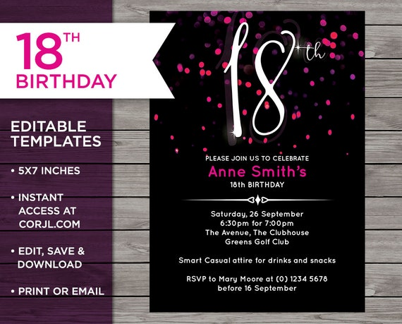 Pink 18th Birthday Invitation