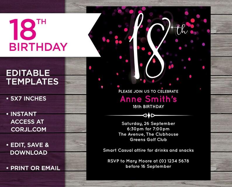 Pink 18th Birthday Invitation