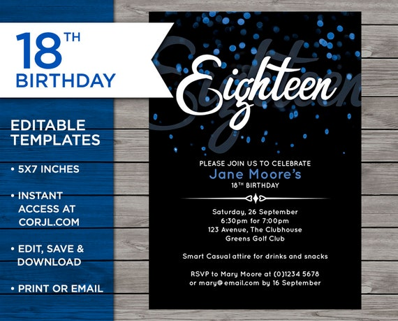 18th Birthday Invitation 18th Birthday Invitation Template Etsy