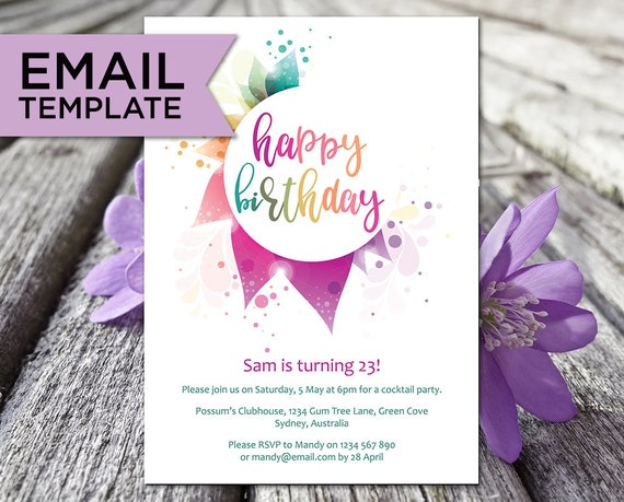 Rainbow Birthday Invitation Email Invitations