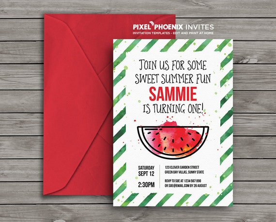 watermelon invite watermelon party sweet invitation etsy