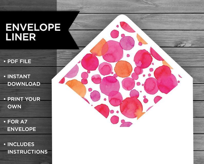 Pink Watercolour Envelope Printable Personalised Envelope A7 Envelope Liner Pink Dots Envelope Liner Stationery Liner Envelope Liner