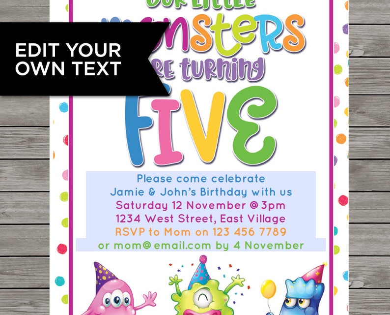 Two Kids Invite 5th Birthday DIY Invitation 5 Years