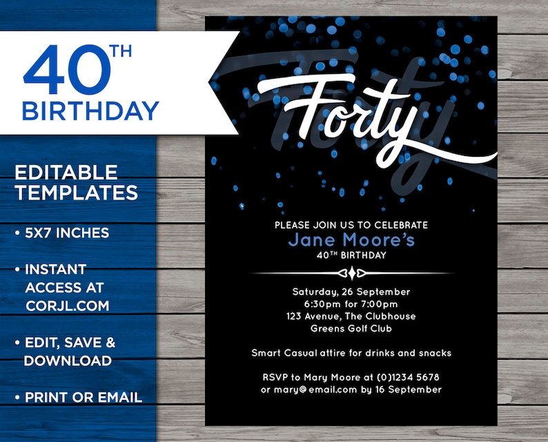 40th Birthday Invitation Template Invite Editable 40 Years Old Downloadable
