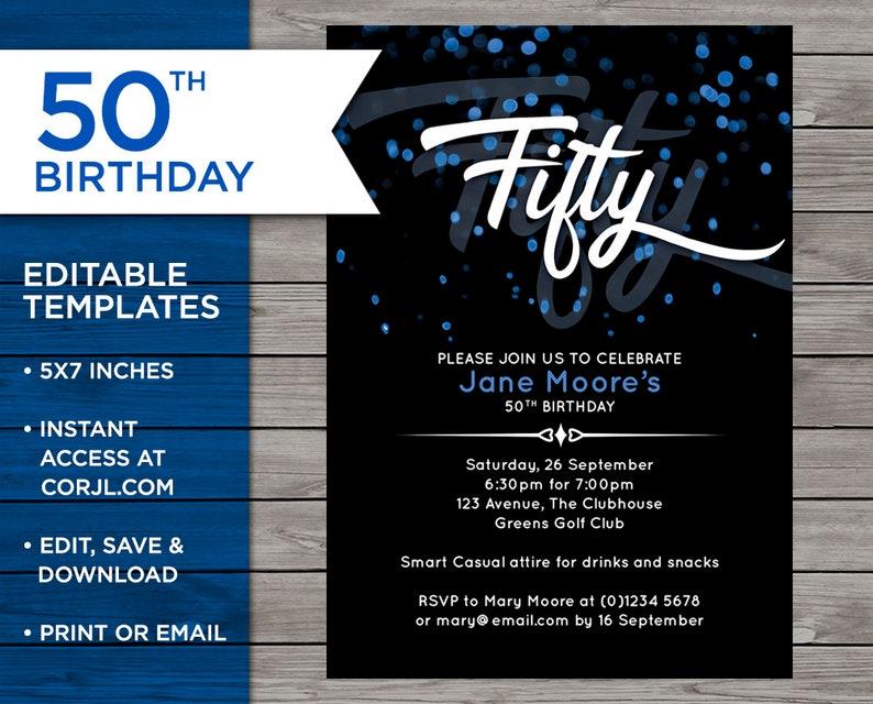 50th Birthday Invite Customisable Invitation 50