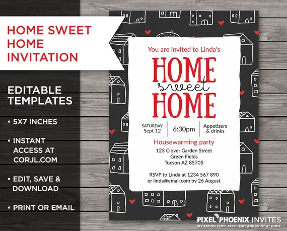 Home Sweet Home Invite Housewarming Invite Housewarming Etsy