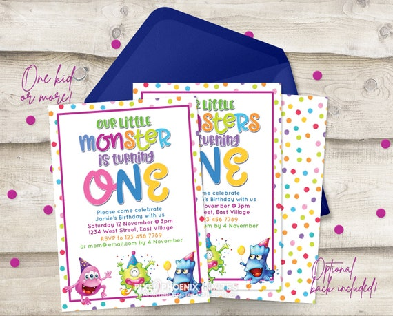 1st Birthday Invite 1 Year Old Boy Or Girl Monster Party Diy Template Editable Birthday Two Kids Invite Twins Birthday Printable