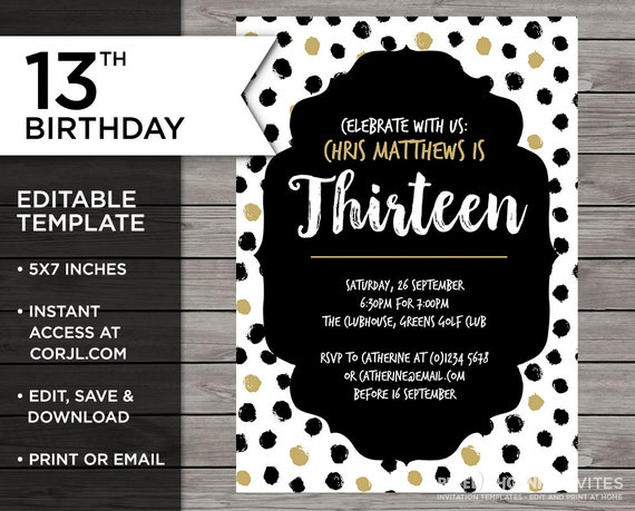 13th Birthday Invitation Teenager