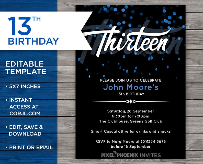 Blue 13th Birthday Invitation 13 Years Old