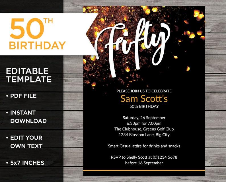 Gold 50th Birthday Invite Customisable Invitation 50 Years