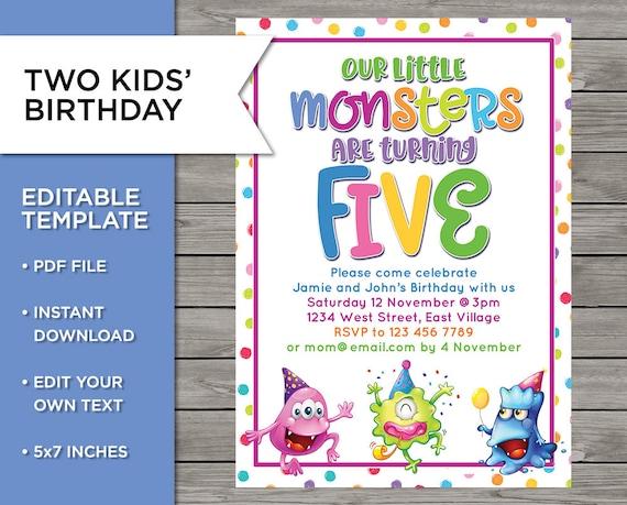 Two Kids Invite 5th Birthday DIY Invitation 5 Years