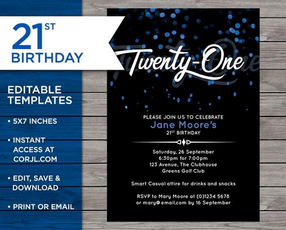 21st Birthday Invite Customisable Invitation 21