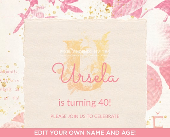 Name With U Floral Monogram Birthday Invitation Initial Crest