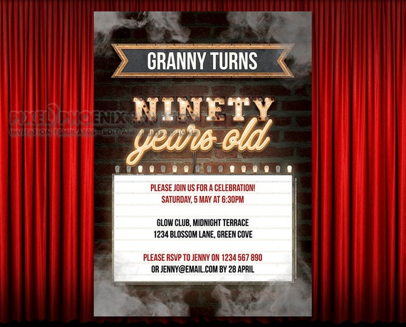 90th Party Invitations Birthday Invite 90 Years Old