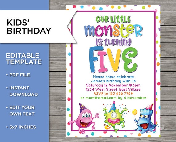 5th Birthday Invite DIY Invitation 5 Years Old Boy Or Girl