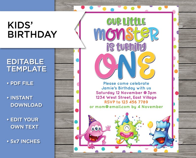 1st Birthday Invite DIY Invitation 1 Year Old Boy Or Girl