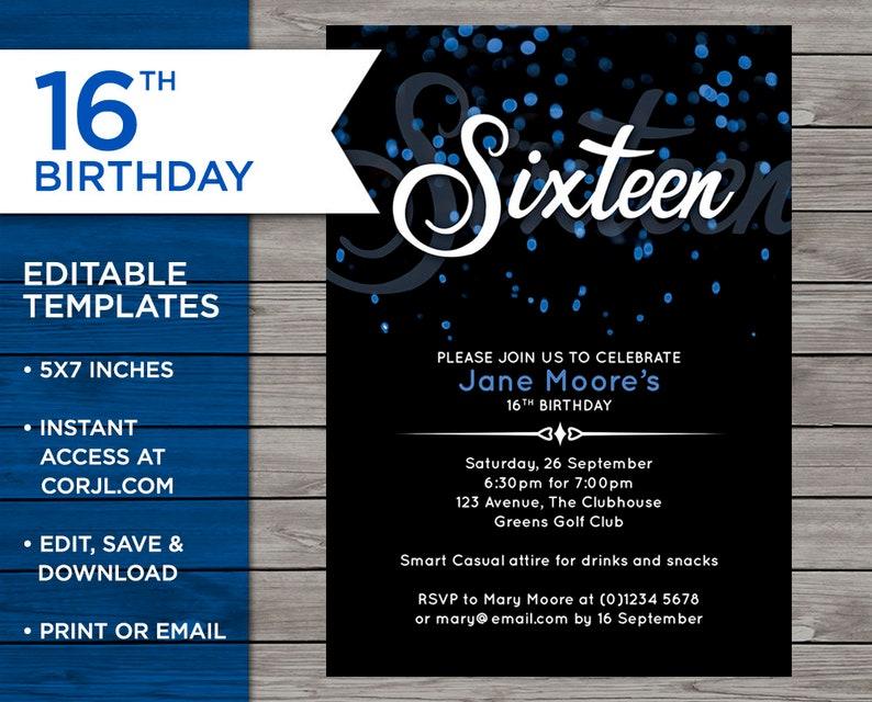16th Birthday Invite Sweet 16 Invitation Editable