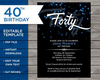 Downloadable invites etsy 40th birthday invitation 40th birthday invitation template 40th birthday invitation editable editable birthday filmwisefo