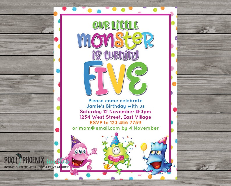 5th Birthday Invite DIY Invitation 5 Years Old Boy Or Girl Monster Party Template Editable Print Your Own 5x7 Inch