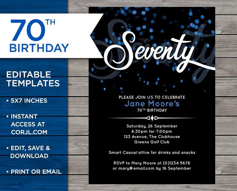 70th Birthday Invite Customisable Invitation 70