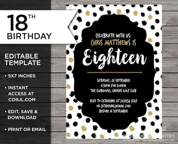 Teenager Birthday 18th Invitation 18 Years Old