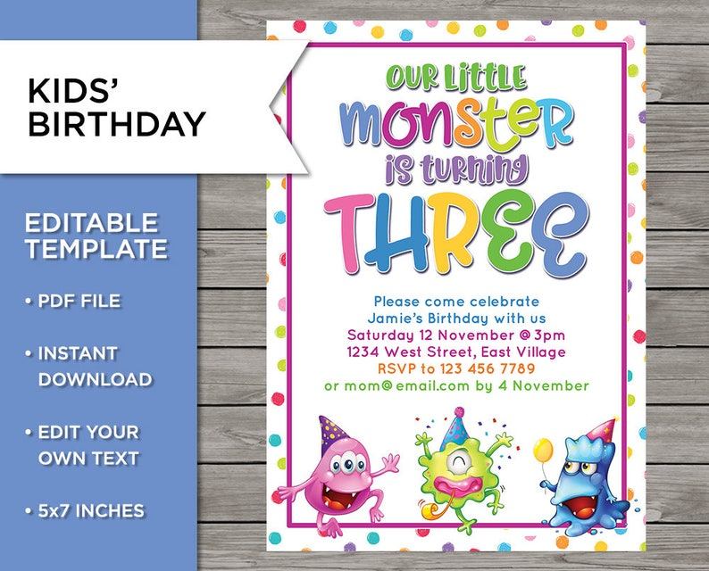 3rd Birthday Invite DIY Invitation 3 Years Old Boy Or Girl