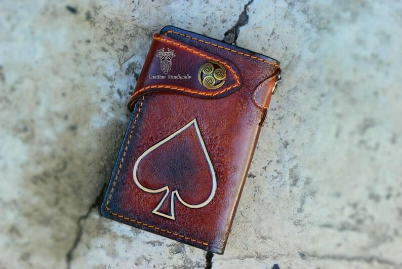 Mot\u00f6rhead Wallet,Handmade wallet Carved wallet,Biker long wallet,rock band wallet