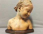 Sculpture Bust Terre Cuite Patiné Young Girl Rieuse The Florentine J.B.PIGALLE Baroque Neo-Classical France