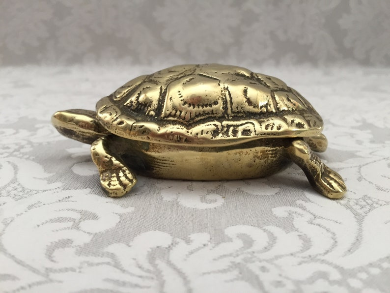 Ancient Bronze Sculpture Golden Massive And Chiseled Turtle Made In England Art