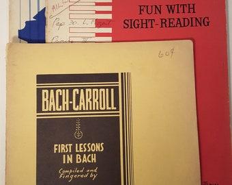 Set of 3 Books--Vintage Piano Sheet Music Instructional Books Teaching Bach