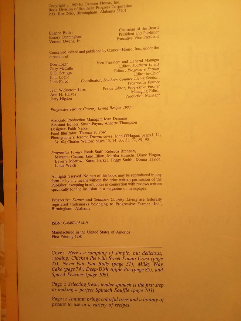 Progressive Farmer Country Living Recipes 1980