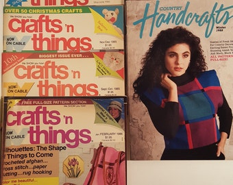 7 Vintage Craft Magazines, Craft 'n Things, Country Handicrafts Ephemera,  1985-1988