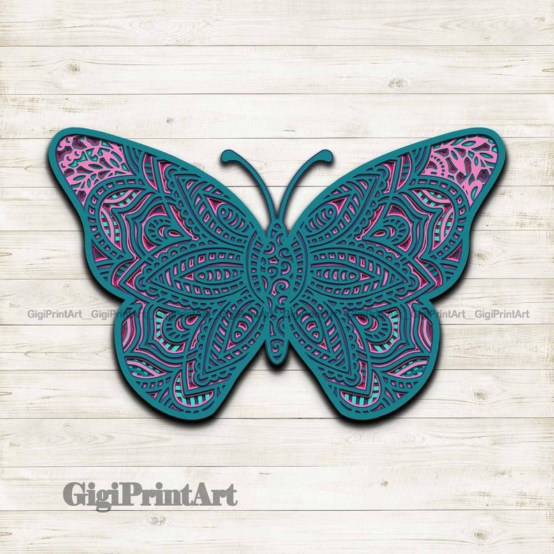 Download Butterfly 3D Mandala SVG Multi Layered Laser Cut File ...